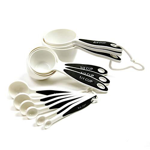 Norpro 3042 Grip-EZ Measuring Cups & Spoons, Set of 12, White/Black