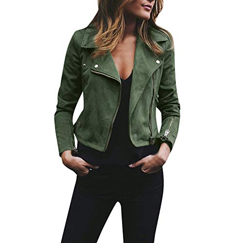 iHENGH Damen Retro Rivet Zipper Up Bomberjacke Frauen Mantel Lässig Outwear