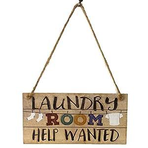 Flushzing Retro Lavandería Se Necesita Ayuda Cartas lavadero de Madera Junta Colgar de la Pared del Panel de advertencias y peligros Placa Plank Decoración
