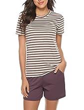 Irevial Pijamas Mujer Algodon Verano, Cómodo Manga Corta Camiseta y Pantalones Cortos Ropa de Dormir 2 Pieces Set