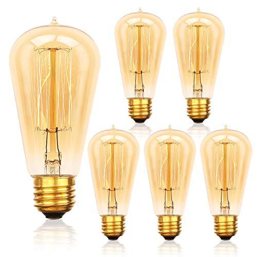 6-Pack Edison Light Bulb, Jslinter Dimmable ST58 Antique Vintage Style Light, Amber Warm e26 Base