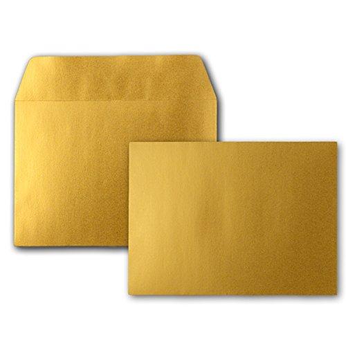 50x Gold-Metallic Brief-Umschläge DIN C6 Format 11,4 x 16,2 cm - Haftklebung - Kuverts ohne Fenster - Weihnachten, Grußkarten & Einladungen