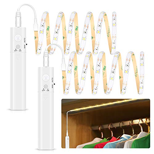 LED Bettlicht mit Bewegungsmelder - Warmweiß, Batteriebetrieben Kleiderschrank Beleuchtung Stripe, Bewegungssensor Licht Leiste, Überall Aufkleben Nachtlicht für Schlafzimmer, Treppe, Schrank(2 pack)