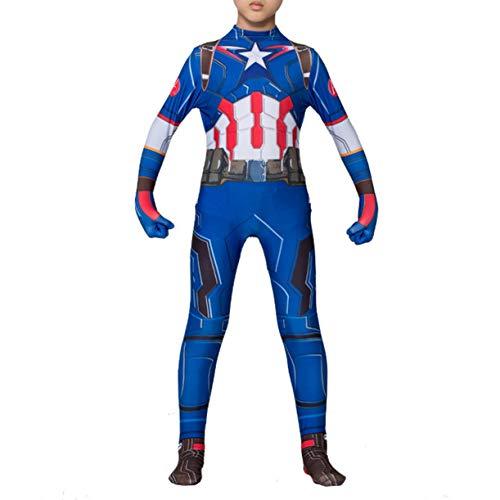 Disfraces Cosplay Chicos Capitán América Vengadores Película De Superhéroes Los Aficionados Mono De La Mascarada De Halloween Lycra Zentai Bodies Rendimiento del Mono Traje,Kids/XXL(145~155CM)