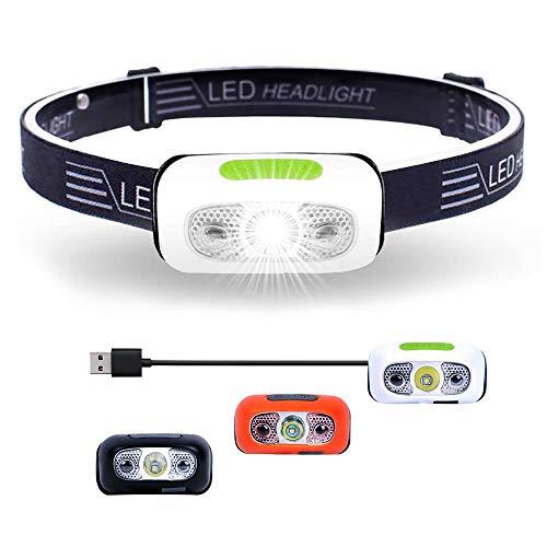 Linterna Frontal LED Recargable USB, Luz Frontal Accesorio Impermeable, Alta Potencia Luz, Mini Linterna de Cabeza para Camping, Pesca, Correr, Running, Bicicleta, Casco para Niños y Adultos (Blanco)