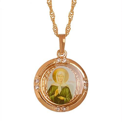Russland Selige Matrona Von Moskau Halsketten Katholizismus/Orthodoxe Kirche Jungfrau Maria Schmuck Licht Roségold 45Cm Kette