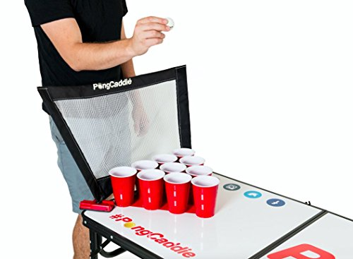 PongCaddie Folding Portable 8-Foot Beer Pong Table with Nets for Improved Gameplay. Dry Erase Surface. Regulation Size.