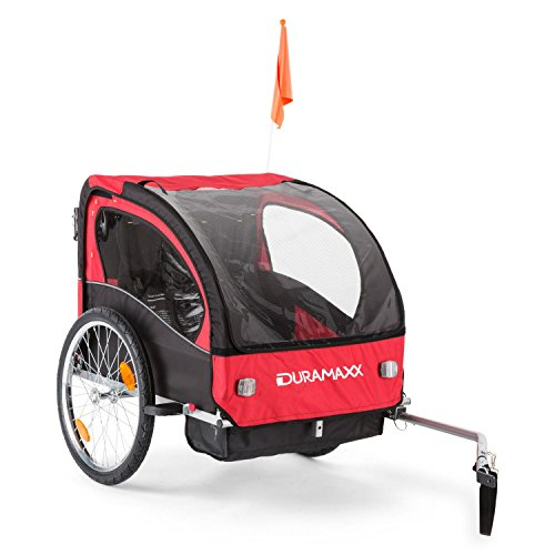 DURAMAXX Trailer Swift Rimorchio da Bici per Bambini Carrello Babytrailer Jogger (1 o 2 Bambini, Sistema Cinghia a 5 Punti, Max. 20 kg, Volume 37,5 Litri) Rosso