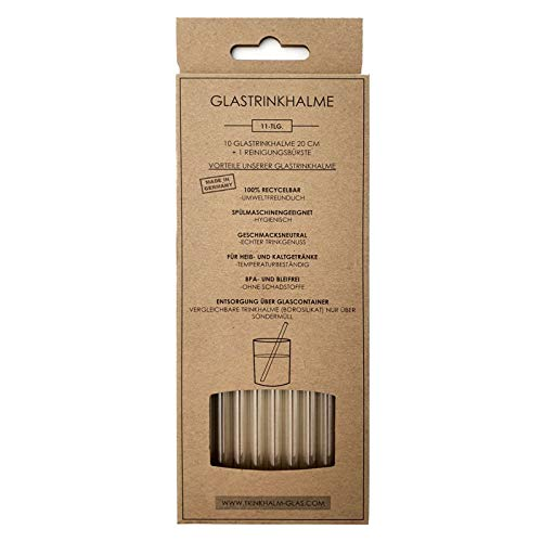 Glas Strohhalme 20cm, 10 Stück - Wiederverwendbare klarglas Trinkhalme aus Spezialglas, Nachhaltig: plastikfreie Glashalme ohne Kunststoff, Glasstrohalme für Cocktails, Smoothies, Saft, Long-Drings