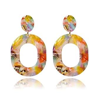 Acrylic Earrings For Women Girls Statement Geometric Earrings Resin Acetate Drop Dangle Earrings Mottled Hoop Earrings Fashion Jewelry  Red Floral