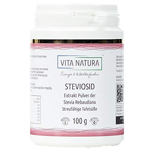 Vita Natura Stevia Extrakt Pulver, Steviosid Tafelsüße, 1er Pack (1 x 100 g)
