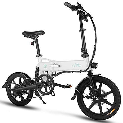 "FIIDO D2S Folding EBike, 250W Aluminum Electric Bicycle with Pedal for Adults and Teens, 16"" Electric Bike 15Mph with 36V/7.8AH Lithium-Ion Battery, Professional Quick-Shift Shimano 6-Speed, White"