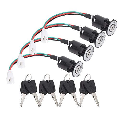 Zündschalter, universeller Zündstartschalter Drei Stromkabel Elektrofahrrad-Zündschloss mit Schlüsseln