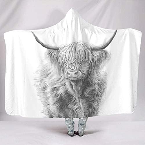 Mantas con capucha y capucha llanas de la vaca de las tierras altas bosquejadas ilustraciones silvestres Yak Animal Print cálido invierno felpa sherpa mística manta con capucha sofá cama 152 x 127 cm