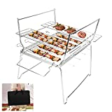 Achort <span class='highlight'><span class='highlight'>BBQ</span></span> <span class='highlight'>Grill</span> <span class='highlight'>Stainless</span> <span class='highlight'>Steel</span> Barbecue <span class='highlight'>Grill</span> with Stand <span class='highlight'>Portable</span> <span class='highlight'>Folding</span> Outdoor Cooking Charcoal <span class='highlight'><span class='highlight'>BBQ</span></span> with Carrying Bag for 5-10 People Family Picnic Garden Terrace Camping Travel Hiking Party