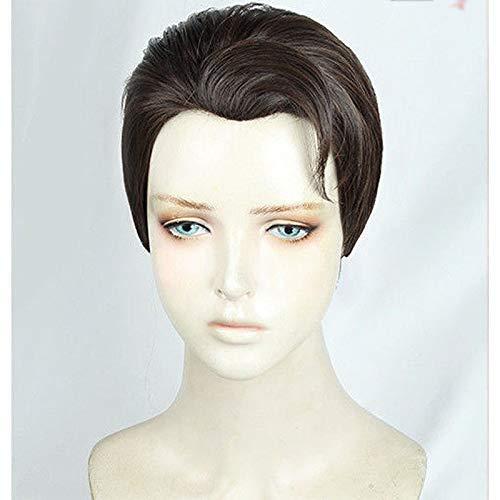 MixFactory Cos Wig Detroit: Conviértete en Humano Connor Brown Brown Brown Slick-Back Cosplay Peluca de Pelo + Cap Halloween Party Wigs Cosplay Disfraces
