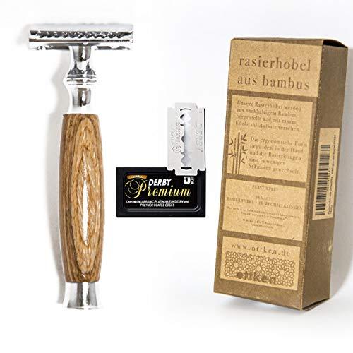 Rasierhobel Set aus umweltfreundlichem Bambus-Holz und Edelstahl-Aufsatz - Safety razor plastikfrei verpackt mit 10 Wechselklingen/Rasierklingen der Marke DERBY