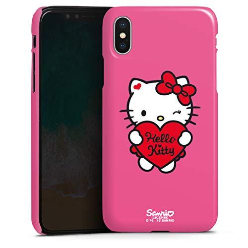 DeinDesign Premium Case kompatibel mit Apple iPhone X Smartphone Handyhülle Hülle glänzend Hello Kitty Fanartikel Herz