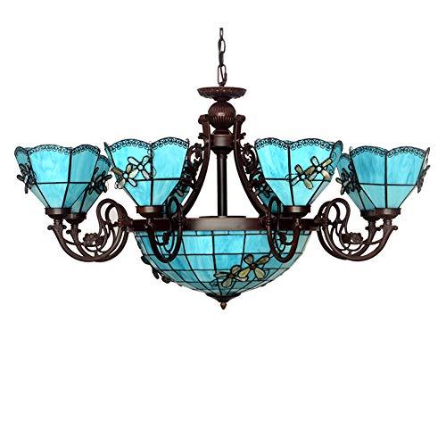 Blauer Kronleuchter im mediterranen Stil, LED-Kronleuchter aus Glas, dekorativer Kronleuchter (100 x 58 cm) für das Esszimmer im Arbeitszimmer-on