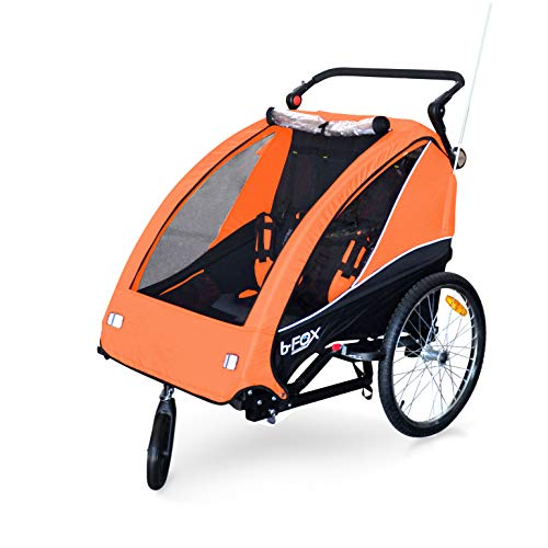Papilioshop B-Fox - Remolque de bicicleta o cochecito para transporte de 1 a 2 niños (color naranja)