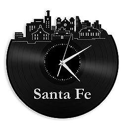 uooja Vinyl Wall Clock Santa Fe,NM Vinyl Wall Clock Record Decorative Unique Gift Men Women Home Decor Vintage Wall Art