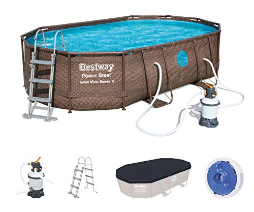 Bestway Power Steel™ Swim Vista Series™ Frame Pool, 488 x 305 x 107 cm, Komplett-Set mit Sandfilteranlage, oval, braune Rattan-Optik