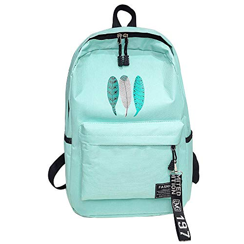 Men men's fashion canvas backpack laptop backpack Ms.men and women through a large capacity bag mochilafeminina-MintGreen_China