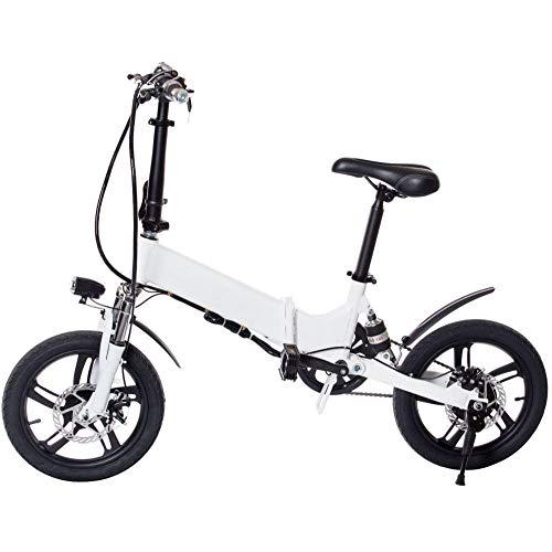 KNFBOK Electric Bike 16-Zoll-Elektro-Fahrrad Erwachsenen Falten Aluminiumlegierung Elektroauto Lithium-Batterie Lange Lebensdauer der Batterie DREI Arten von Fahrmodus LCD-Bildschirm Weiß