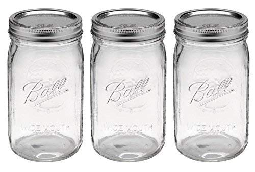 Ball Quart Jar with Silver Lid, Wide Mouth, Set of 3