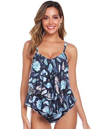 Abollria Costume da Bagno a Due Pezzi Sexy Donna Tankini Canottiera+Pantaloncino da Bagno Costume per Mare, Spiaggia, Piscina, Party, Vacanza