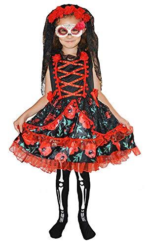 Für Immer Junge Kinder Mädchen Tag der Toten Skelett Zombie Braut Kostüm Halloween 4-6 Jahre