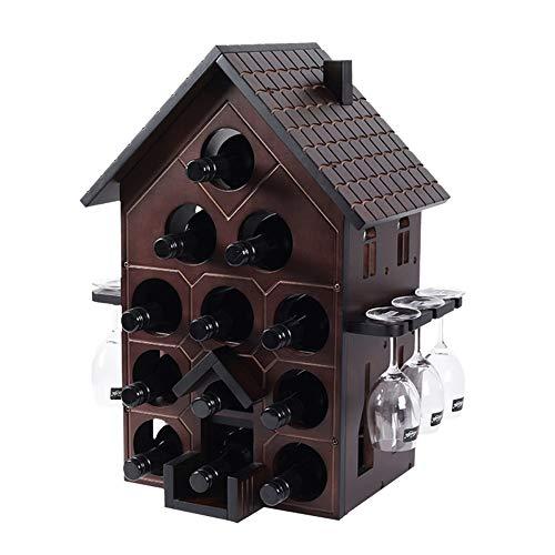 PHT HTZ Rojos De Madera del Vino Portavasos Botellero Colgador Adornos Oscura Sala De Estar Casera Creativa Botellero Botellero Botellero 47x34x60CM A+