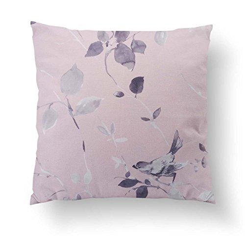 Pichler Birdy Kissenhülle oder Kissen gefüllt rosa mit Vogelmotiv Blätter Äste (Hülle ca. 40x40 cm)