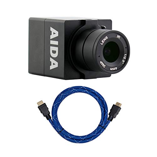AIDA HD-100A Compact Full HD HDMI POV Camera with TRS Stereo Audio Input with Knox Gear Nylon-Braided 4K HDMI Cable (6-Foot) Bundle (2 Items)