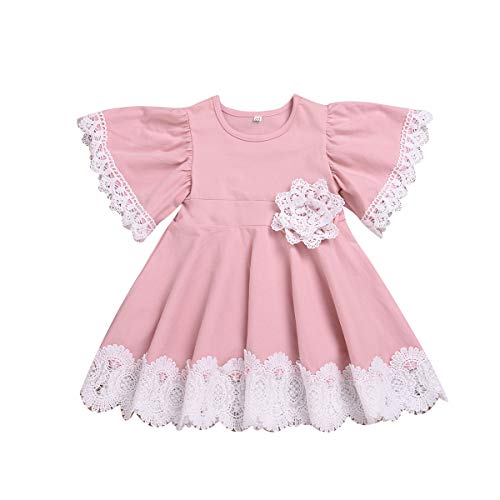 Kids Baby Girls Dress Lace Edge Floral Party Dress Short...