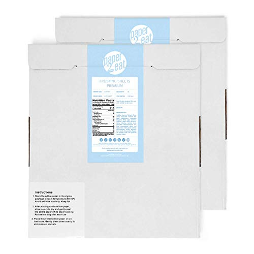 """paper2eat Frosting Sheets Premium (Icing Sheets) 8.5"""" x 11"""" – 48 count – White Edible Printer Paper"""