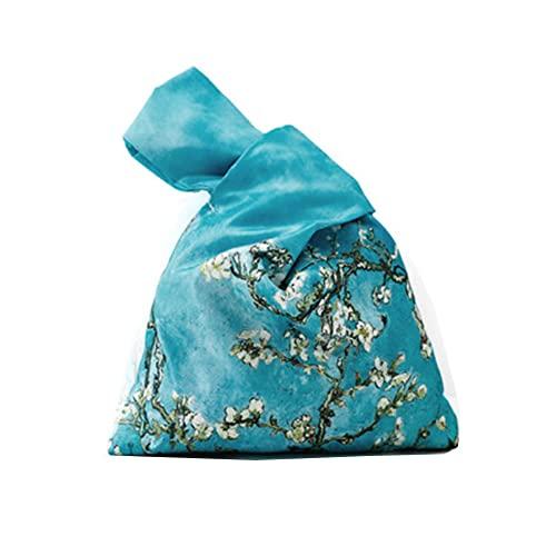 Bolso de muñeca con patrón de kimono japonés, resistente al agua, bolso de mano, bolsa de nudo, cartera portátil para mujer (flor de albaricoque)