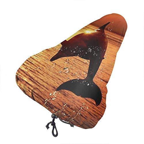 lucky-bonbon Sunset - Funda impermeable para asiento de bicicleta con diseño de delfín para mantener seco, protección solar impermeable y resistente al polvo para todos los ejercicios de bicicleta.
