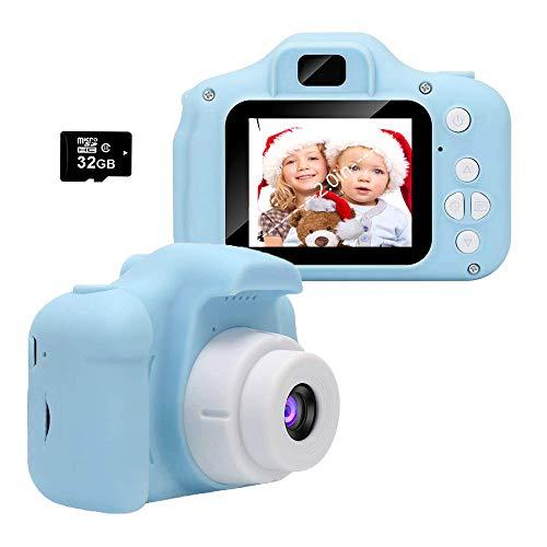 Cámara para Niños, Infantil Cámara de Fotos Digital con 32GB Tarjeta de Memoria, Videocámaras Juguetes, Fotos de 8 Megapíxeles, Pantalla de 2.0 Pulgadas, Niños y Niñas Cumpleaños Regalo (Azul)