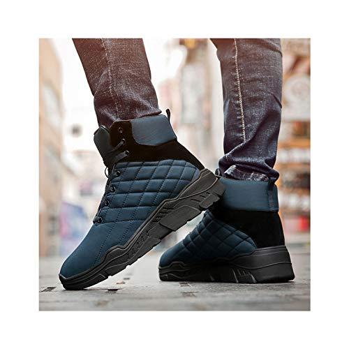 HaoLin Calzado De Montañismo Zapato Botines Botas De Nieve De Invierno Zapatillas Cálidas Zapatos De Trabajo De Felpa,Blue-43