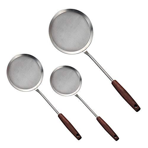 Schaumlöffel, 3 Stück, 304 Edelstahl, Schaumlöffel zum Kochen, Braten, Abschäumen, Fett und Schaum