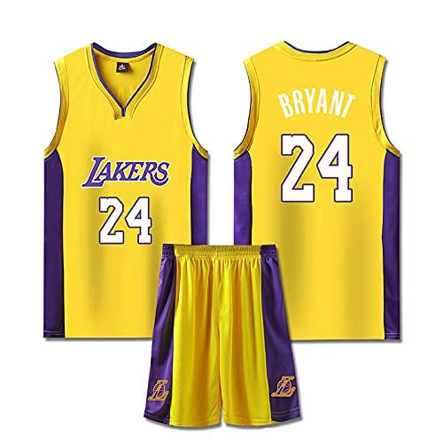 LGLE Completo da 2 Pezzi in Maglia da Basket, Kobe-Bryant #24, Tuta da Allenamento a Maniche Corte e Pantaloni da Uomo e da Donna,Yellow, 2XL
