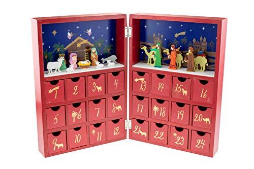 Clever Creations - Calendario de Adviento con Forma de Libro - Belén con niño Jesús y los 3 Reyes Magos - Madera Robusta - 21 x 5,1 x 25,4 cm