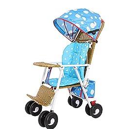 Chariot Pliant pour Enfants Imitation Bambou Chaise en Osier Chariot Imitation Rotin Poussette Inclinable pour Bébé…