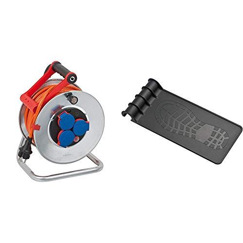Brennenstuhl Garant IP44 Kabeltrommel (25m Kabel in orange, Stahlblech, Einsatz im Außenbereich, Made in Germany) mit Trommeltritt (geeignet für einen Trommel-Ø von 240/290)