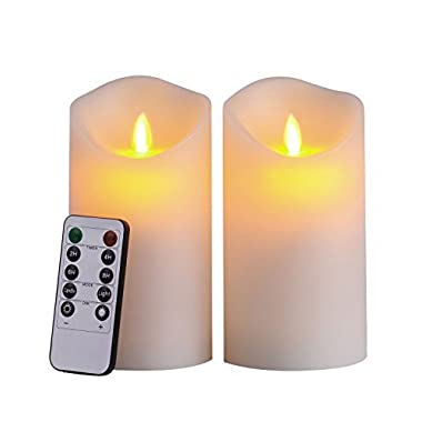 Pandaing 3.25 x6  LED Flameless Candles with 10-Key Remote Control - 2/4/6/8 Hours Timer, Classic Pillar Moving Flame Real Wax Candles, Battery Powered, Ivory Color, Set of 2