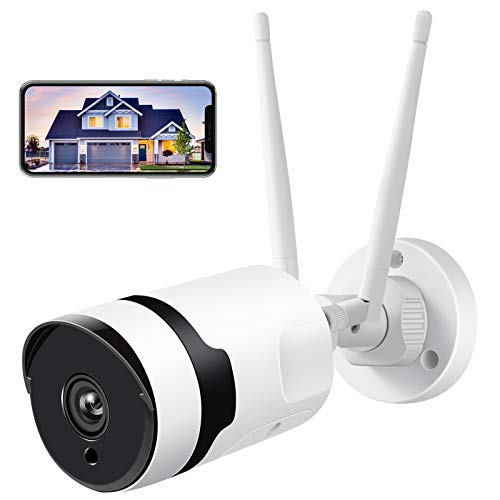 Security Camera Outdoor, HJSHI 1080p Wireless WiFi Surveillance Camera with Dual WiFi Antenna,...