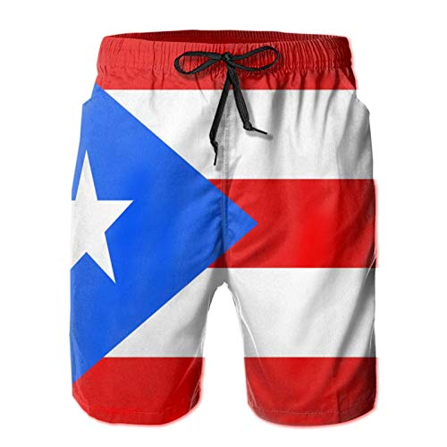 QUEMIN Flagge von Puerto Rico Herren Casual Badehose Quick Dry Beach Shorts Sommer Boardshorts mit Mesh-Futter, XL