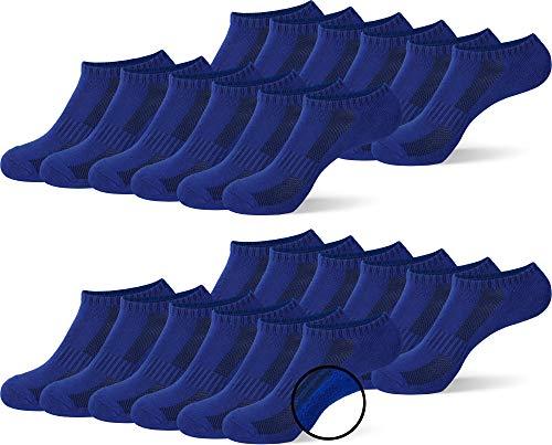 MC.TAM® Unisex Sportsocken Kurze Sneaker Socken Herren Damen 12 Paar 80% Baumwolle (Oeko-Tex® Standard 100) Frotteesohle, 43-46, 12x SF, Blau