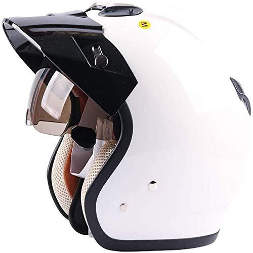 ZHXH Harley Motorradhelm, Erwachsene Retro Männer und Frauen Evergreen Street Fahrauto Open Face Motorrad 3/4 Helm Eingebaute Linse/Punkt Zertifizierung,